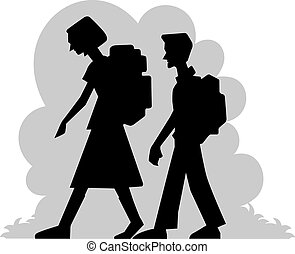 Boy and girl - Illustration of students walking in the...