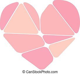 Pink heart symbol made up of abstract forms isolated on white