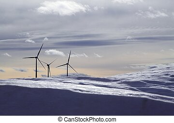 aerogenerator electric windmills snow mountain blurred...