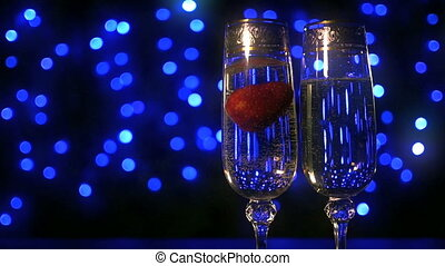 champagne with strawberry