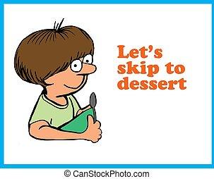 Dessert - Food cartoon about enjoying dessert