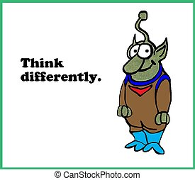 Think Differently - Business cartoon about thinking...