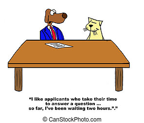 Job Interview - Business cartoon about a job interview.