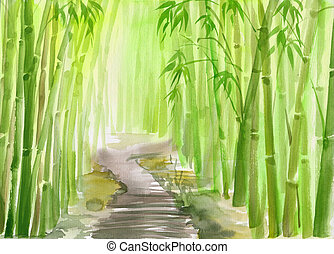 Green bamboo forest - Single path alley through green bamboo...