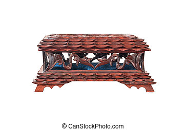old wooden box for jewelry, lacquered isolated