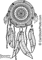 Dreamcatcher. A4 size. Pattern for adult coloring book. Hand...