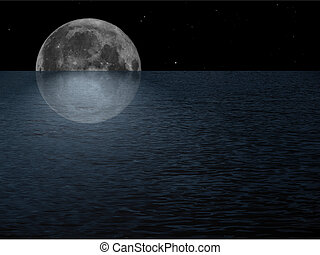 Full moon at sea at night with starry sky collage, with copy...