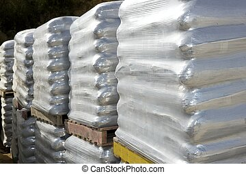 sandbags bags white pallet sacks stacked - sandbags bags...