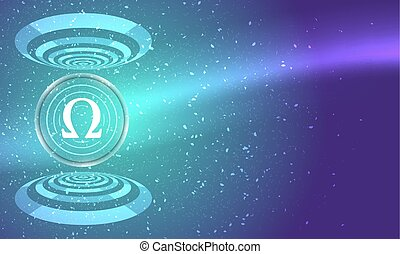 Abstract background with circular objects and omega icon