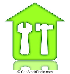 House Renovations - House renovations green icon with house...