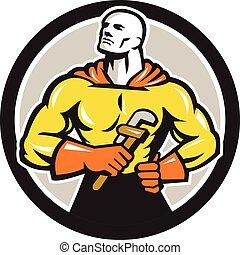 Plumber Superhero Monkey Wrench Circle Retro - Illustration...