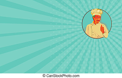 Business card Chef With Mustache Thumbs Up Circle WPA -...