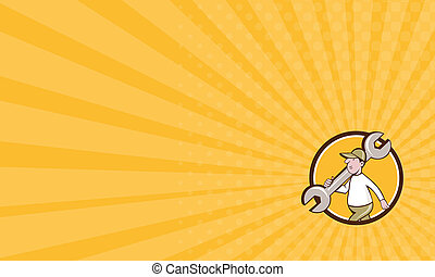 Business card Mechanic Monkey Wrench Walking Circle Cartoon...