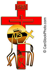 cross - A red cross and the Lamb of God