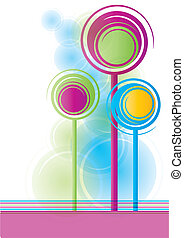 Abstract trees - Bright colored spiral trees, eps10 vector...