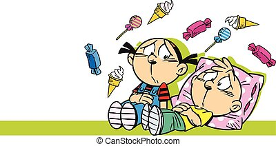 children ate sweets - The illustration shows cartoon boy and...