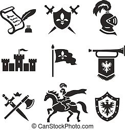 Knight medieval history vector icons set Middle ages warrior...
