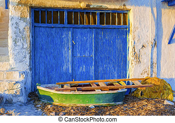 Old Boat at the picturesque fishing village of Klima on the...