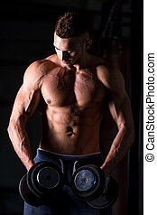 Weightlifting exercises for shoulders - Portrait of young...