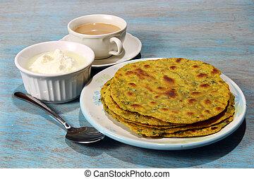 Methi Paratha,an Indian flatbread stuffed with fenugreek...