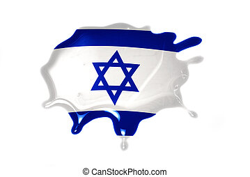 blot with national flag of israel on the white background