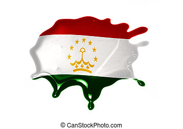 blot with national flag of tajikistan on the white...