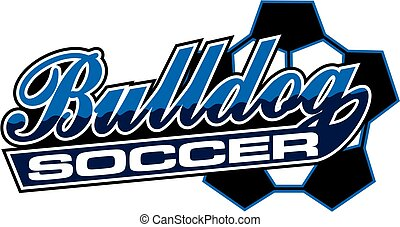 bulldog soccer team design in script with tail for school,...