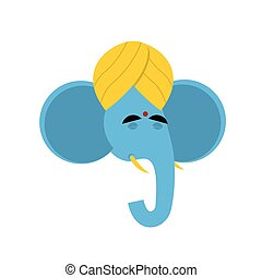 Lord Ganesha. Elephant yoga. Indian elephant god. Elephant in turban. Head blue elephant on white background