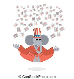 Republican Elephant hat Uncle Sam meditating votes in elections. Cheerful polytypical illustration. Symbol of political parties in America. Animals yoga