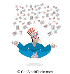 Democrat Donkey hat Uncle Sam meditating votes in elections. Cheerful polytypical illustration. Symbol of political parties in America. Animals yoga