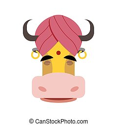 Indian sacred cow Cow in turban Head yellow cow