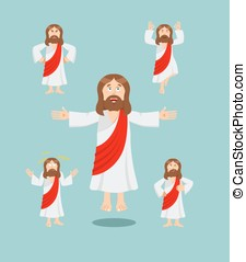 Jesus set of movements. Jesus set of poses. Jesus is...