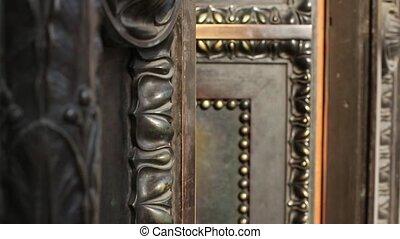solid ancient a bronze door closes - Ancient wrought a...