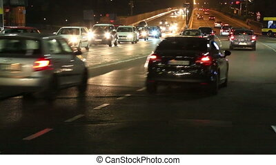 Night traffic at Branko Bridge in Belgrade - Night car...