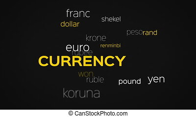 Floating Currency Words Array Black - Floating array or word...