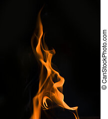 single Fire flame on black background