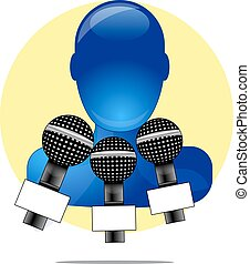 Illustration of blue person with three microphones with yellow circle background