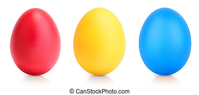 Concept of Easter multi color eggs on white - Concept of...