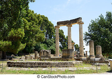 The Philippeion ruins in ancient Olympia, Peloponnes, Greece