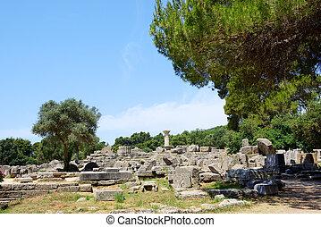 a, Templo, de, zeus, ruínas, em, antiga, Olympia,...