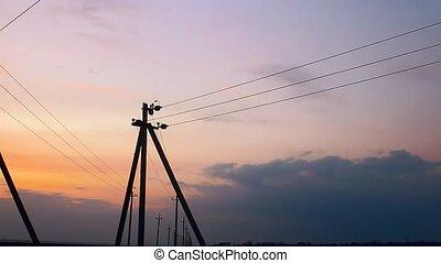 electric pole sunset - electric pole sunset orange landscape...