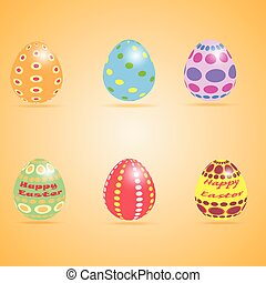 Funny Eater Eggs  set different ornaments colors