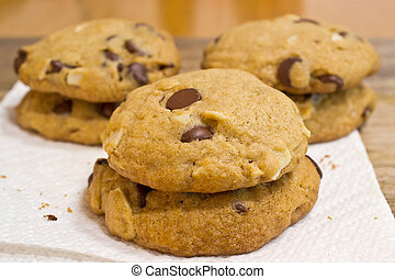 Chocolate chip cookies - Six chocolate chip cookies with...