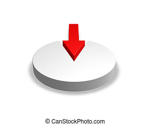 intruder - disc with red arrow on white background - 3d...
