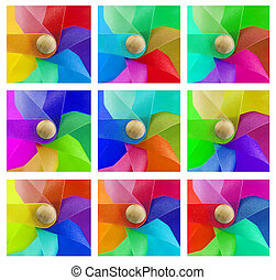 set of coloured windmills - set of 9 coloured windmills...