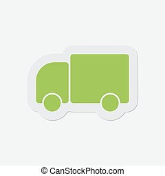 simple green icon - lorry car