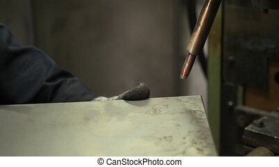 Welder Welding Metal Material in Heavy Industry...