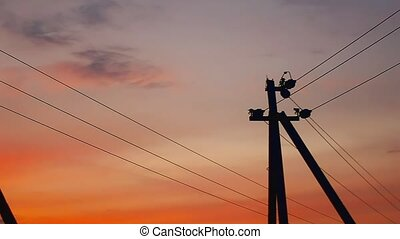 electric pole sunset - pole electric sunset orange landscape...
