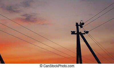 electric pole sunset - pole electric sunset orange landscape...