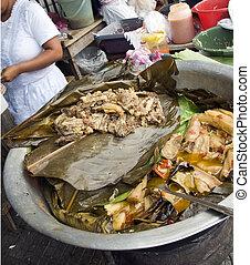 calle, alimento, carne de vaca, Yuca, vegetales, guisado,...